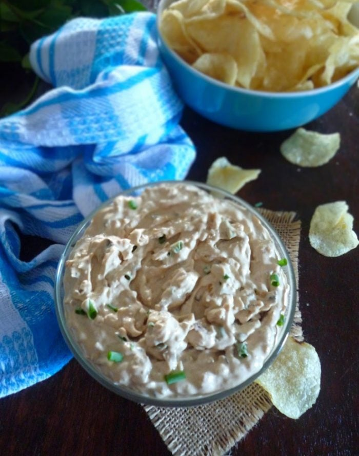 French Onion Dip was one of those deliciously salty, snacky comfortfoods most of us grew up eating with those crunchy salty chips and a cold Coke a Cola to chase it down.