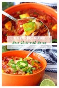 Crock-pot Beer Chili with Beans; is a delicious comforting combination of dark Beer, ground beef, ground pork, red peppers, yellow peppers, diced tomatoes with green chiles, tomatoes, kidney beans.