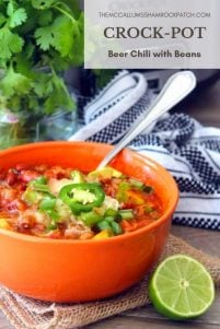 A delicious, hearty, comforting combination of dark Beer, ground beef, quality ground pork, red peppers, yellow peppers, diced tomatoes with green chiles