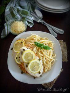 Creamy Lemon Chicken Piccatta with Fettuccine by The McCallums Shamrock Patch Blog