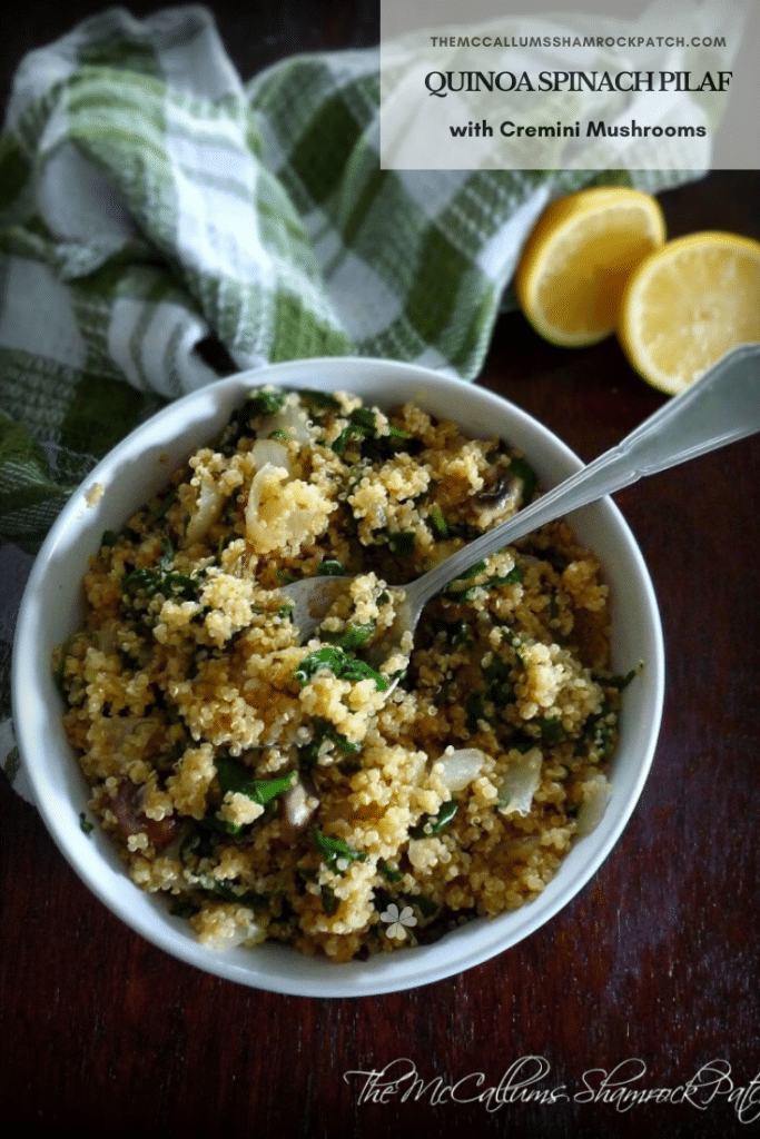 If you love a classic recipe for Spinach and Cremini Pilaf, you will love this fresh new take on the traditional pilaf recipe you've used for years. Quinoa Spinach Pilaf with Cremini Mushrooms has countless health befits with a massive bonus of a delicious flavor. You are combining white quinoa, shallots, minced garlic, cremini mushrooms, and fresh baby spinach with a hint of lemon.