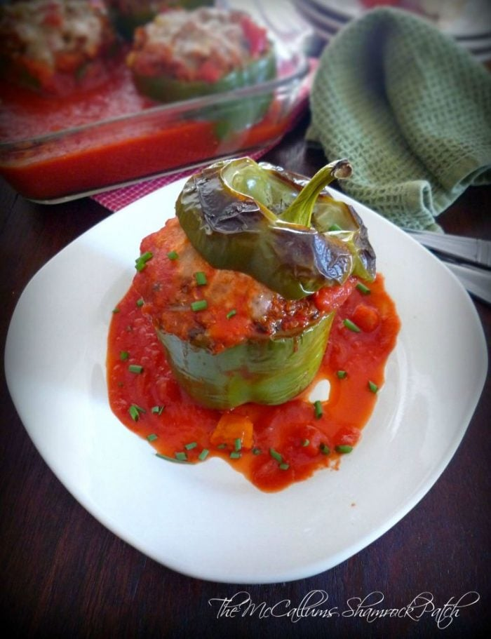 This Cajun Beef & Quinoa Stuffed Peppers is pure Cajun-inspired goodness; deliciousness. The green bell peppers are stuffed with organic quinoa, lean ground beef, quality ground pork sausage, celery, onions, diced red bell peppers