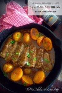 German-American Bock Beer Beef Roast is a perfectly tender, juicy, delicious comforting roast recipe your family and friends will love; marinated in Bock Beer, garlic, a touch of German whole grain mustard, Worcestershire sauce, garlic cloves, and whole peppercorns and roasted to all-time perfection.