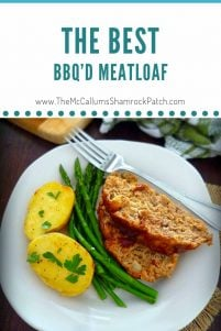 The Best BBQ'd Meatloaf has a delicious hint of smokey Kansas City Style BBQ sauce, lean ground beef, ground turkey, mild ground sausage, celery, onions, and Parmesan cheese combined with dried herbs and spices to make the perfect economical meatloaf dinner.