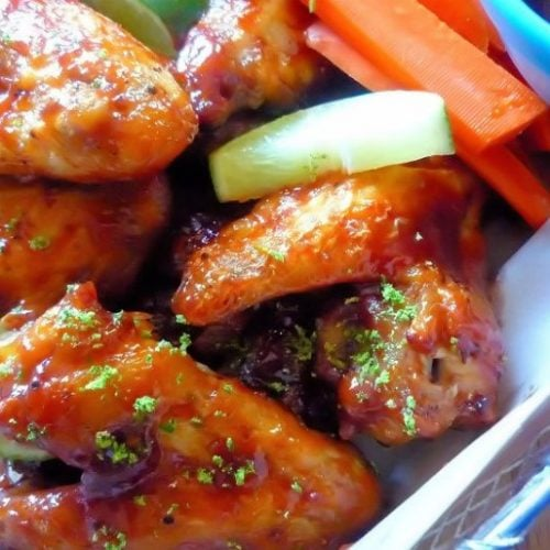 Deliciously baked not fried tangyBaked BBQ'd Chipotle Lime Wings are as simple as 1-2-3, budget-friendly and perfect for your next Sunday game day. Baked BBQ'd Chipotle Lime Wings are perfectly seasoned with a slightly spicy honey chipotle BBQ sauce and a hint of fresh lime juice to balance the flavors.