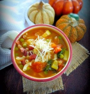 Minestrone is a delicious, hearty, thick soup of Italian origin made with everyday ingredients such as beans, onions, celery, carrots, vegetable stock, and tomato, pasta, or rice. There is no recipe set in stone for Minestrone; it is usually made of the vegetables that are in season at the time.