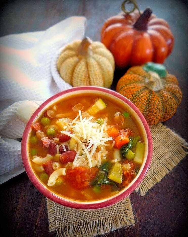 Minestrone is a delicious, hearty, thick soup of Italian origin made with everyday ingredients such as beans, onions, celery, carrots, vegetable stock, and tomato, pasta, or rice.There is no recipe set in stone for Minestrone; it is usually made of the vegetables that are in season at the time.