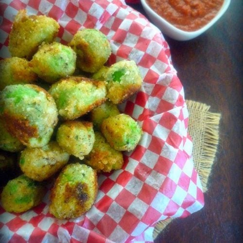 Italian-Style Fried Brussel Sprouts are the perfect new appetizer; so insanely good even those who have always hated them will begin a new relationship with their childhood dinner enemy. Coated in Italian-Style breadcrumbs, Ramano cheese, Italian herbs, fried to perfection and served with a Marinara sauce for dipping.
