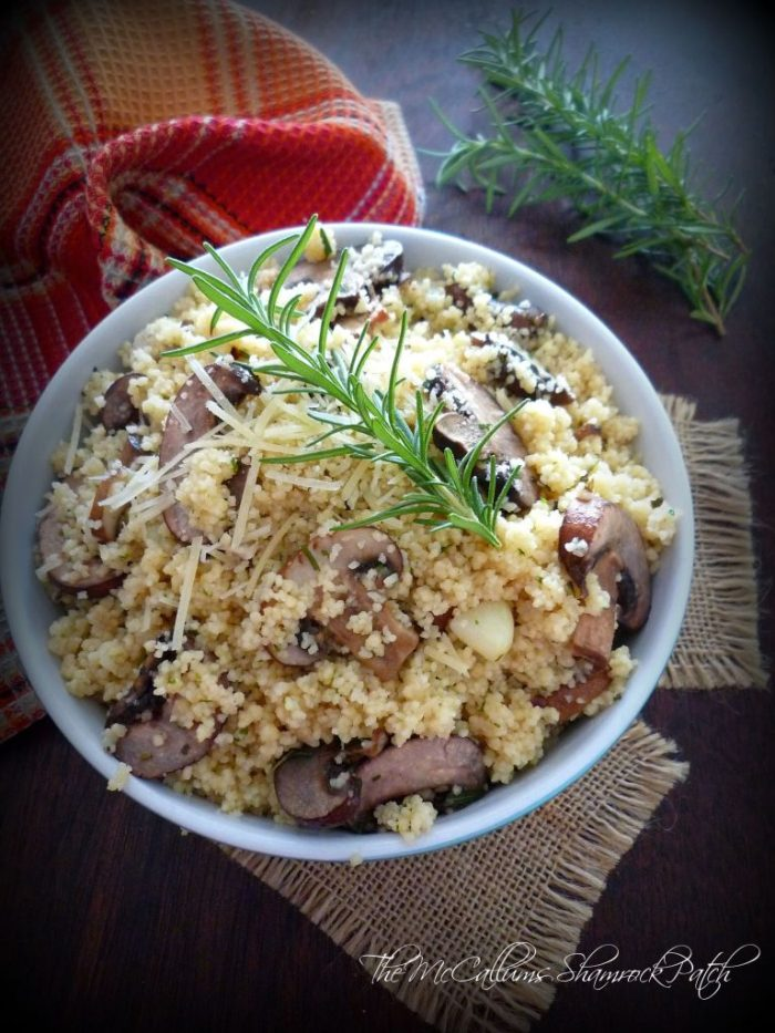 Couscous with Cremini Mushrooms, Rosemary, and Parmesan is easy to make yet the fabulous menu item you have been waiting for. Simple and deliciously made from Couscous, cremini mushrooms, low-sodium chicken broth, authentic olive oil, Parmesan cheese, and rosemary to have you in and out of the kitchen with ease.