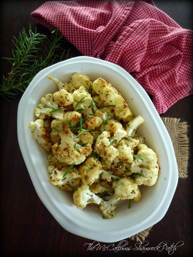 Roasted Cauliflower with Parmesan and Rosemary is delicious, the healthy side dish made from freshly roasted cauliflower, grapeseed oil, grated parmesan cheese, fresh rosemary, and other herbs and spices.