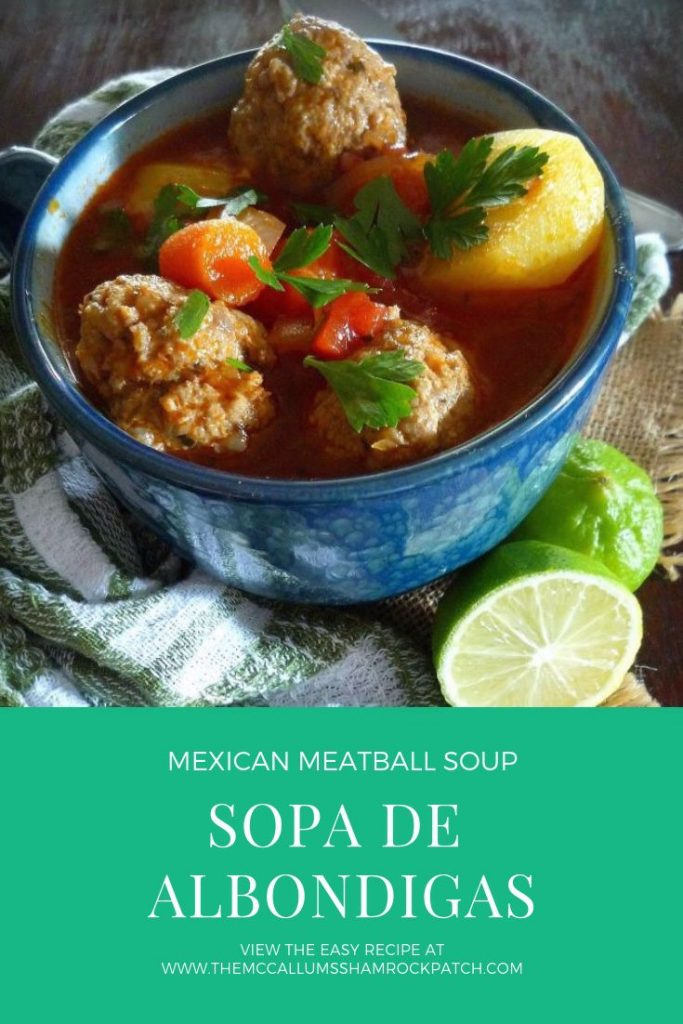 Sopa de Albondigas is pure Mexican comfort food made with love, then ladled in a favorite bowl to be enjoyed on a cold day. This fabulous soup centers around the famous Mexican Albondigas or Meatballs made with lean ground beef, rice, minced onions, garden fresh parsley, mint, oregano, and cumin, served in a warm broth with seasonal veggies