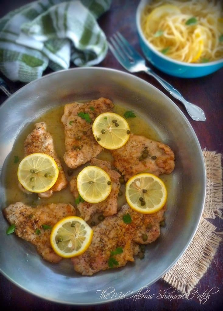 Pork Piccata with lemon and Capers is a deliciously simple Italian-American classic dish made from tender pork tenderloin slices that have been seasoned with kosher salt, freshly ground peppercorns, dredged in all-purpose flour, then sautéed in a combination of authentic olive oil and unsalted butter. The pan drippings are used to make the delicious sauce by adding chicken broth, white table wine, lemon juice, and capers.