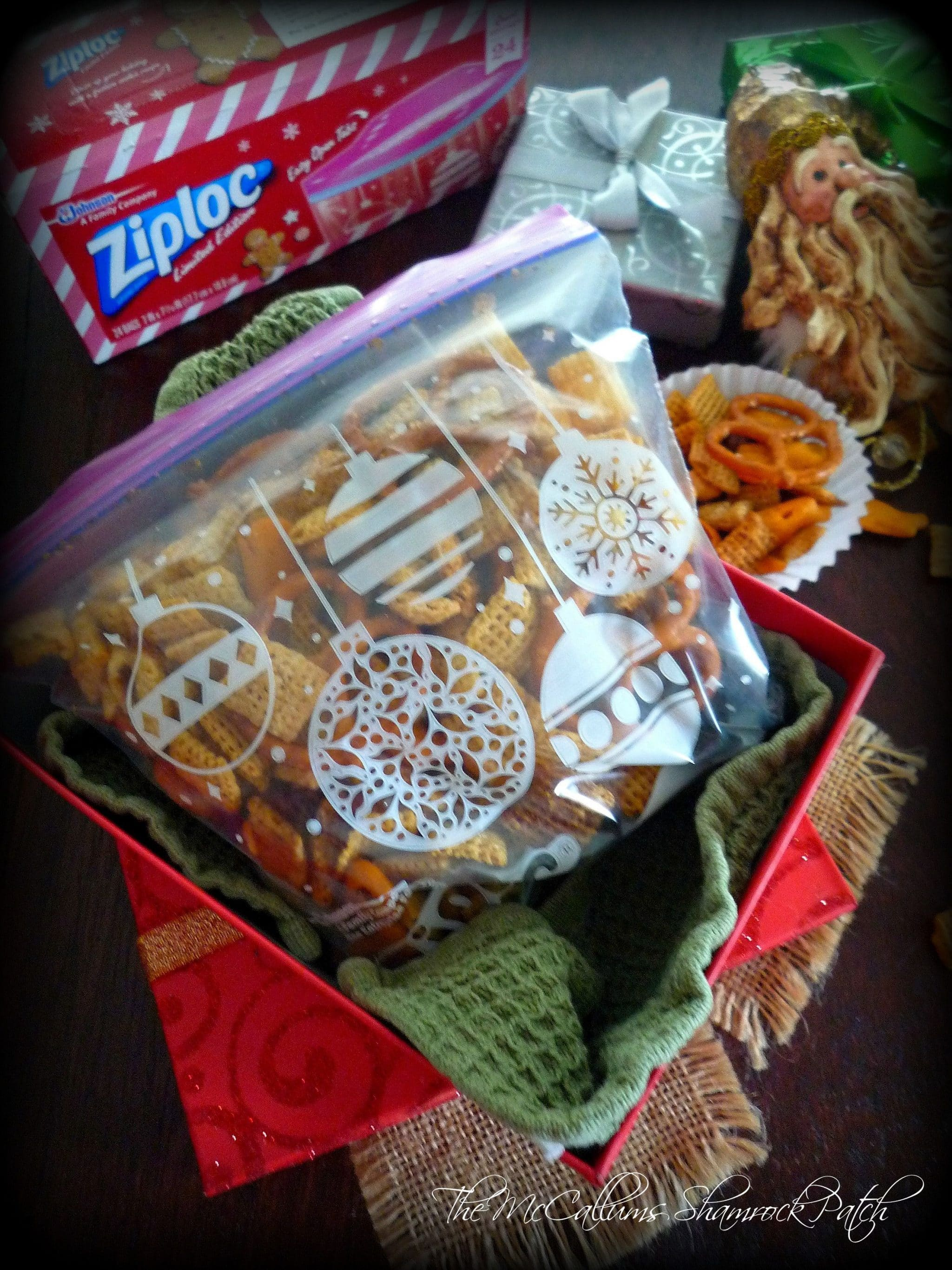 Store in Ziploc bags - chex party mix