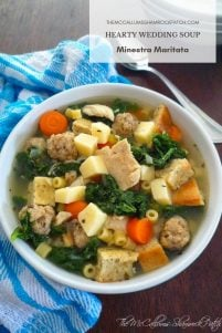 My recipe today for Hearty Wedding Soup - Minestra Maritata combines nutrient-rich kale, endive, carrots, celery, onions, garlic, quality pork, sausage, chicken, Italian Sponges or Croutons, homemade broth, and the perfect blend of Italian herbs and seasoning to make this a hearty Wedding Soup you won't soon forget.