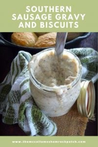 Creamy delicious heaven over biscuits is the phrase that comes to mind when I think of my mama's Southern Sausage Gravy and Biscuits; I can not begin to tell you in words how amazingly good her Southern Sausage Gravy is over her homemade biscuits.