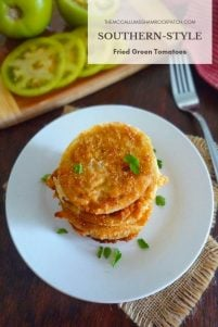 Southern-Style Fried Green Tomatoes are deliciously tart with a Southern-style crispy batter made from All-purpose flour, Self-rising cornmeal, and Cajun seasoning. In the South, we love our fried green tomatoes as much as we love our sweet tea and lemon-aid on a hot summer day.