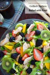 Grilled Chicken Salad with Fruit is not only light on calories; it's simply a stunning looking show stopper light meal to serve for any luncheon or light dinner this late spring. Combining grilled chicken breast, organic salad greens, fresh blackberries, delicious red strawberries, kiwi, and freshly picked Florida mangoes to make a perfectly healthy salad you'll enjoy time and time again.