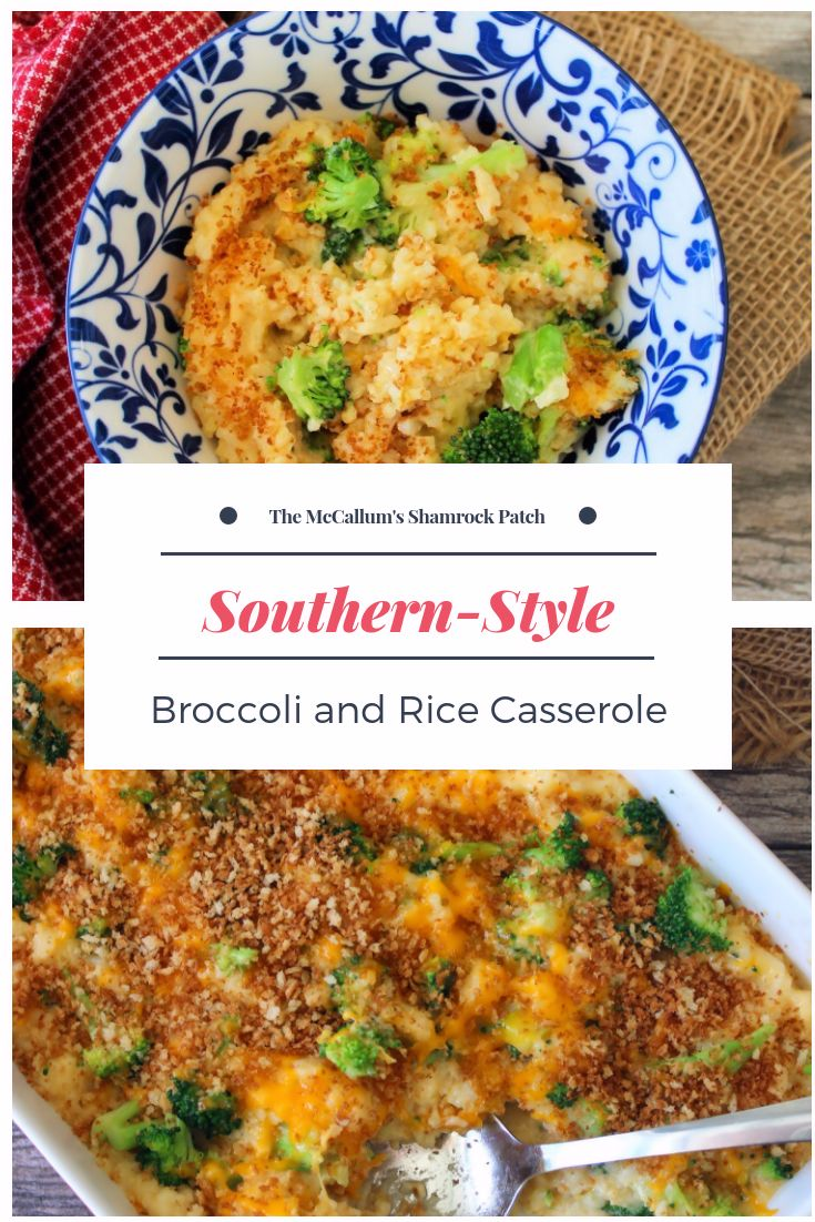 Southern Broccoli and Rice Casserole is a Southern favorite in our home and one of our most beloved recipes passed down from one generation to the next; made with long grain rice, fresh never frozen broccoli, sautéed Vidalia onions, white sharp cheddar, mild yellow cheddar, sour cream, low sodium vegetable broth, and topped with seasoned breadcrumbs before being baked to perfection.