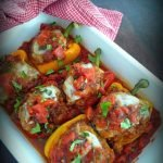 One of my favorite comfort foods to date is Sicilian-Style Stuffed Peppers; made with Sausage & Couscous. A delicious version of stuffed peppers made with quality Italian sausage, Ramano-Parmesan cheese, couscous cooked with Rosemary and Authentic olive oil, placed in sweet bell peppers served with fire roasted San Marzano tomato and red wine sauce.