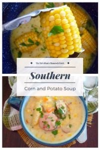 Southern-Style Corn and Potato Soup is the perfect soup that's an exception to the rule during the summer months. Creamy, thick, and delicious are some of the keywords that come to mind when eating thisSouthern-Style Corn and Potato Soup. Made with leftover fresh sweet corn on the cob, sliced russet potatoes, bite-size smoked sausage slices, chopped sweet red mini peppers, celery, heavy cream, garden fresh herbs, and Cajun seasoning.