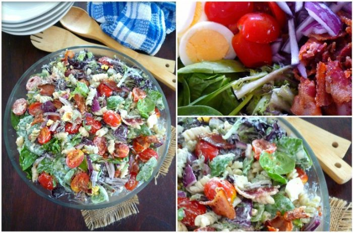 Creamy Spinach and Bacon Pasta Salad is so simple to make; it takes about 20 minutes from start to finish to have you out of the kitchen in no time flat. Made with fresh spinach, artesian lettuce, crisp hickory smoked bacon, grape tomatoes, hard-boiled eggs, red salad onions, and a portion of creamy pasta.