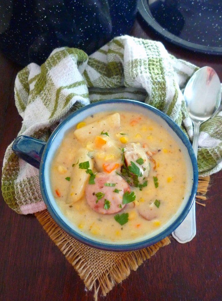 Southern-Style Corn and Potato Soup is the perfect soup that's an exception to the rule during the summer months. Creamy, thick, and delicious are some of the keywords that come to mind when eating this Southern-Style Corn and Potato Soup.