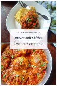 Hunter-Style Chicken {Chicken Cacciatore } looks very impressive on the dinner table, but really it's so simple and easy to make. All you'll need to make this delicious tasting Hunter-Style Chicken is chicken thighs, flour, olive oil, onions, chopped red bell peppers, plum tomatoes, green olives, fresh minced garlic, red wine, chicken stock, thyme, fresh basil, a touch of oregano, kosher salt, and freshly ground black pepper.