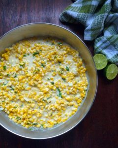 Mexican-Style Creamed Corn is the perfect simple to make, almost foolproof side dish for almost any meal you enjoy corn with, combining a deliciously sweet, freshly picked, organic corn on the cob, rich heavy cream, a drizzle of organic honey, sweet unsalted butter, a touch of minced jalapeñopeppers, chopped organic cilantroand a hint of freshly squeezed lime juice