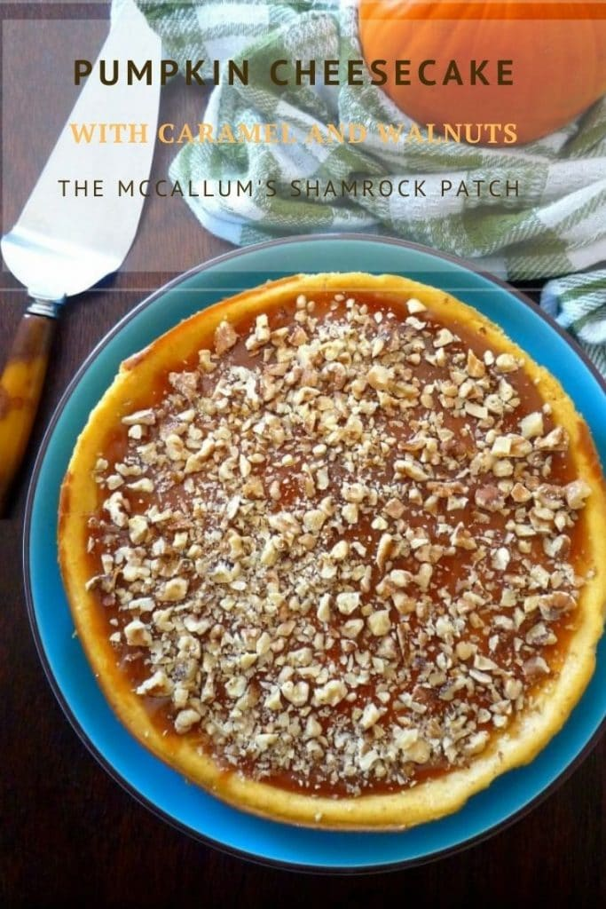 Pumpkin Cheesecake with Caramel and Walnuts has to be one of the best cheesecakes, I have made to this date, with a thick, rich, creamy mixture of cream cheese, pumpkin, caramel, and walnuts that are spiced with nutmeg, ginger, cloves, and allspice, the texture and taste are perfect in every way.