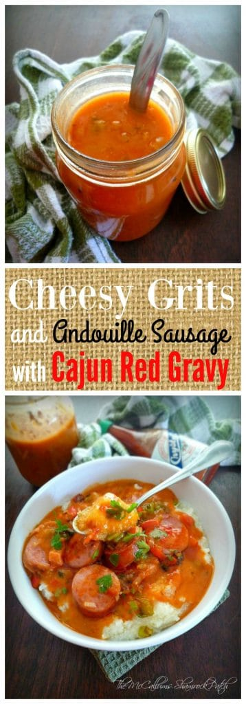 Don't you dare sleep on all the delicious endless possibilities of serving grits; they aren't just for breakfast here in the South, we have many ways we choose to enjoy our beloved grits; one of my favorite ways is Cheesy Grits with Andouille Sausage and Cajun Red Gravy for lunch and heck even dinner at times.