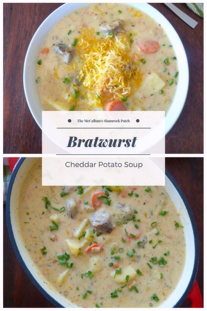 Bratwurst Cheddar Potato Soup is a creamy, cheesy, thick, hearty soup that combines most of our husband's favorite man approved ingredients; quality grilled Bratwurst sausages, deliciously sharp Wisconsin-style cheddar cheese, and chunky potatoes simmered to perfection.