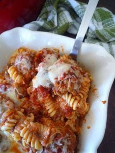 This Baked Rotini and Meatballs turns any traditional pasta and meatballs into the most amazing baked cheesy casserole you will ever taste.