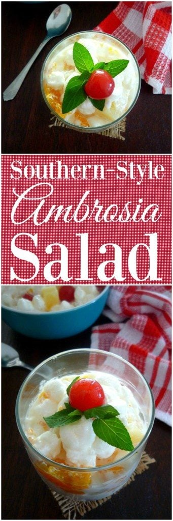 Years ago, the decadent sweet iconic dessert Southern Ambrosia Salad would start as a simple 3 ingredient dessert recipe consisting of only freshly grated coconut, orange pulp or sliced oranges, and a bit of sugar, these days it has become the epic experience depending on who is in charge of making this vintage Southern Dessert.
