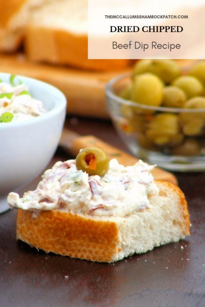 The Holidays are the time when we all bring out our cherished dips and appetizers and one of our families favorites is my deliciously creamy, slightly salty,  Dried Chipped Beef Dip Recipe made with dried beef, cream cheese, sour cream, mayo, diced onions, green onions, minced jalapeño peppers, Worcestershire sauce, and Cajun Seasoning served over crusty bread or your favorite crackers it's simply to die for.
