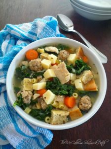 My recipe today for Hearty Minestra Maritata – Wedding Soup combines nutrient-rich kale, endive, carrots, celery, onions, garlic, quality pork, sausage, chicken, Italian Sponges or Croutons, homemade broth, and the perfect blend of Italian herbs and seasoning to make this a hearty Wedding Soup you won't soon forget.