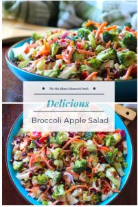 Crisp broccoli, Pink lady apples, celery, cranberries, raisins, shredded carrots, and sunflower seeds come together to make an amazing salad with delicious flavors and various textures. The creamy dressing on top makes this Broccoli Apple salad absolutely delicious.