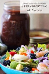 Shrimp and Berry Salad with Avocados is a super simple, addictive,  deliciously, healthy, lunch or light dinner idea you can readily make in no time flat with fresh ingredients such as crisp romaine lettuce, succulent gulf shrimp, red tomatoes, red onions, chickpeas, ripened avocados, juicy raspberries, and sweet blackberries.