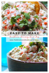 Delicious Southern Creamy Crab Dip is one of the snacking staples found in my house during late spring and early summer. Made with a big heap of traditional Southern love and delicious tasting ingredients; such as Lump or Imitation crab meat, cream cheese, mayonnaise, minced celery, red onions, spring onions, diced pimento peppers, diced jalapeño, fresh chopped parsley, dill, and Cajun seasoning.