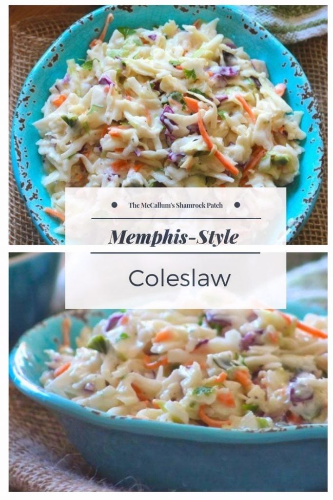 Memphis-Style Coleslaw hits the most important notes when it comes to taste and texture slightly tart, sweet, creamy, oh so crunchy—there's so much to love when it comes to Memphis-Style Coleslaw. Made with pure Southern-Style love; combining crunchy cabbage, green pepper, crisp carrots, and red onion, with a delightfully sweet creamy homemade sauce