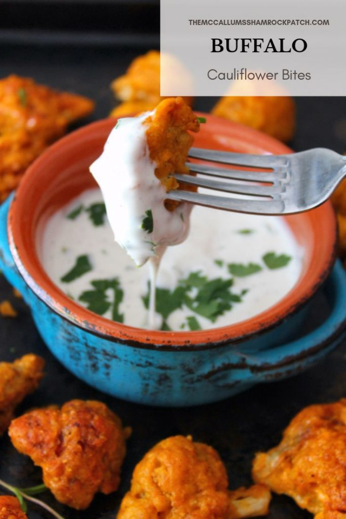 Buffalo Cauliflower Bites are one of those spicy to die for yet surprisingly healthier recipes,  a wonderful combination of cauliflower coated in a deliciously crispy batter, then baked and tossed in a homemade Buffalo Sauce to create a simple and delicious appetizer that would be perfect for vegetarian friends, impromptu get-together, or even game night.