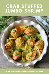 This recipe for Crab Stuffed Jumbo Shrimp Recipe is all about decadent tasting baked jumbo shrimp generously stuffed with a delicious crab filling all sitting pretty in a delicious butter sauce, every bite is delicious. This appetizer is perfect for a big dinner party or just a romantic dinner for two on date night.