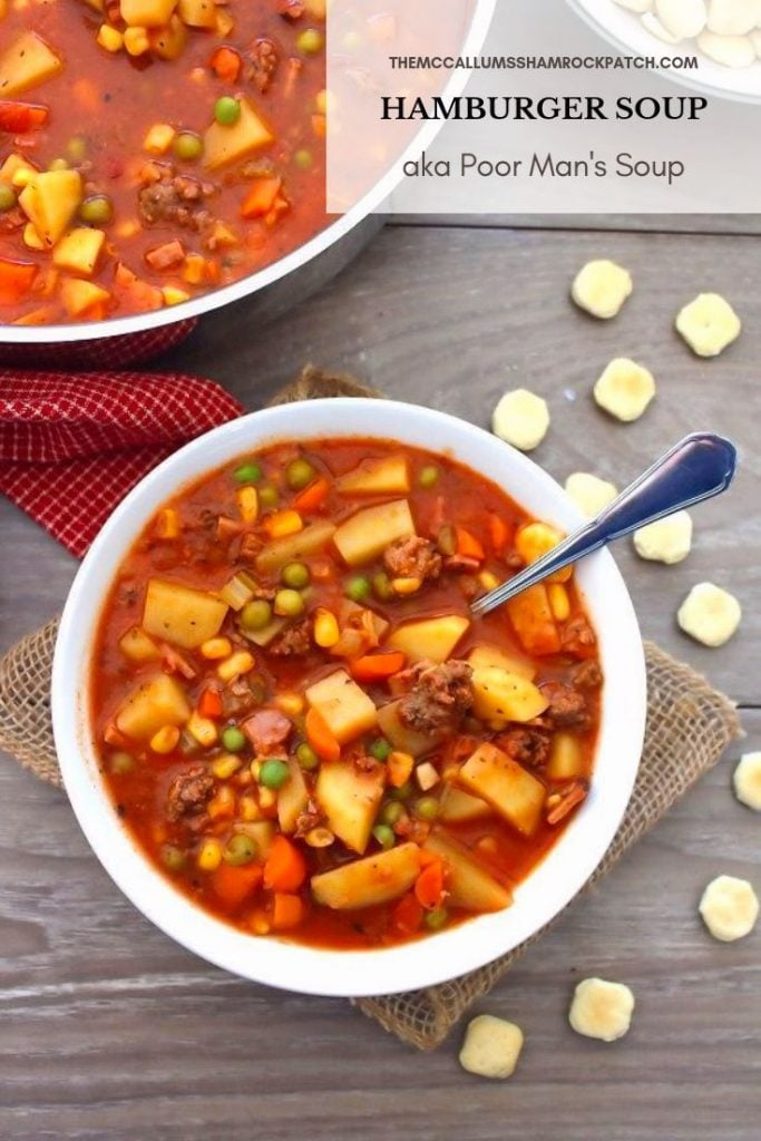 My recipe for Easy To Make Hamburger Soup aka Poor Man's Soup is so simple and deliciously affordable to make. You'll love the idea of being able to combine simple ingredients you already have on hand to make one of the most flavorful yet inexpensive soups this fall.