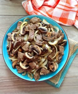Kentucky Bourbon Steak Bites with Mushrooms and Onions