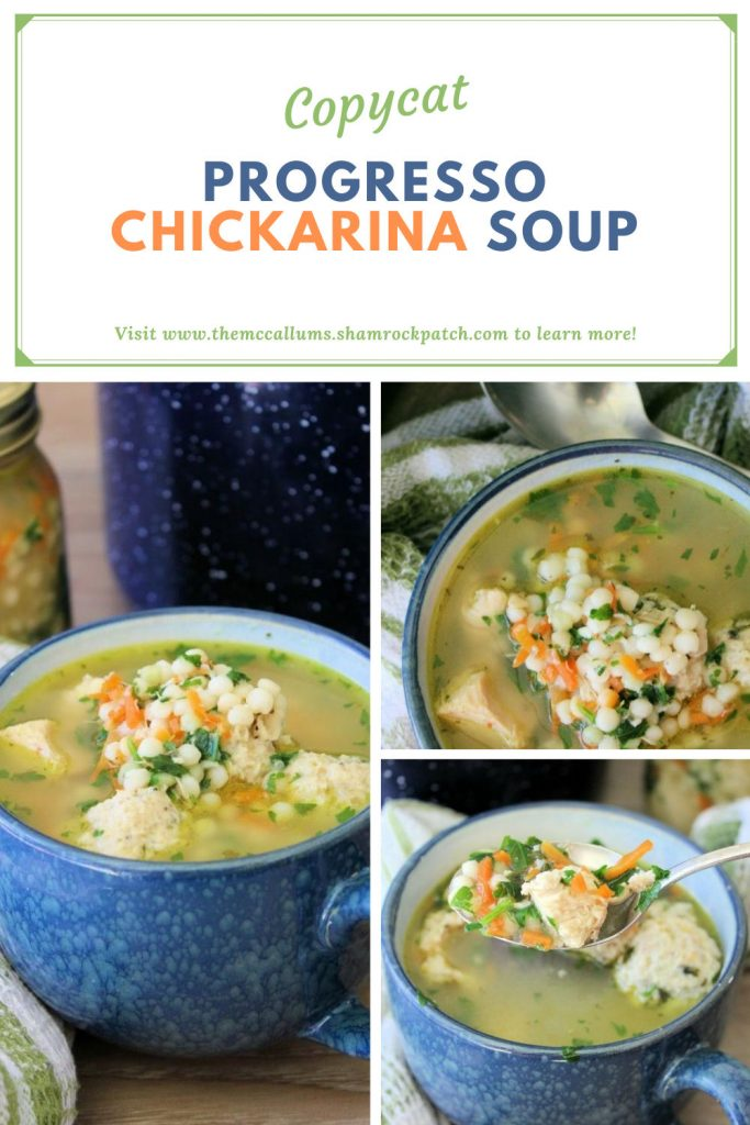 Copycat Progresso Chickarina Soup is a fantastic combination of a flavorful broth with tiny chicken meatballs, chunks of all white chicken, carrots, celery, and little pearl pasta that come together perfectly.