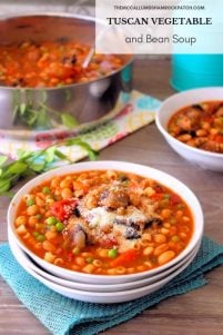 Tuscan Vegetable and Bean Soup is a favorite of the cold weather season. Hot, comforting, and packed with amazing flavor to make you smile on a chilly day. Who doesn't love a hearty bowl of delicious warm soup this time of the year? Packed with hot Italian sausage, hot capicola, cannellini beans, celery, carrots, peas, diced tomatoes, and even tiny pasta, in a warm flavorful vegetable broth to fill your belly on a chilly day.