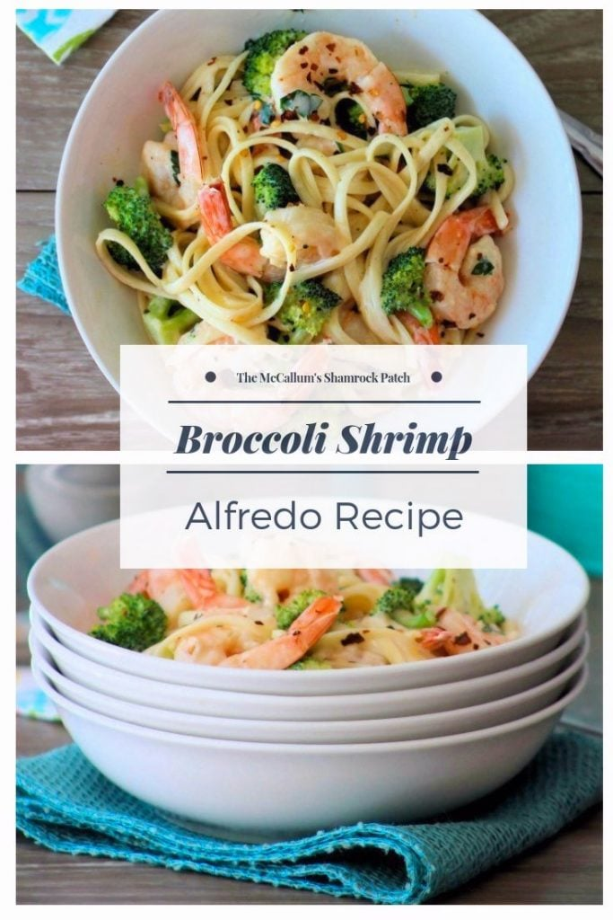 This take on a classic Italian-American recipe for Broccoli Shrimp Alfredo combines a rich cheesy tasting Alfredo Sauce with deliciously succulent gulf shrimp and fresh organic broccoli florets. It's super easy to make and the perfect comfort food to serve your family, that's ready to eat in no time at all on busy work nights.