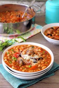 Who doesn't love a hearty bowl of deliciouswarm soup this time of the year? This recipe is Packed with hot Italian sausage,spicy capicola,cannellini beans, celery, carrots, peas, diced tomatoes, and even tiny pasta, in a warm, flavorful vegetablebroth to fill your belly on a chilly day.