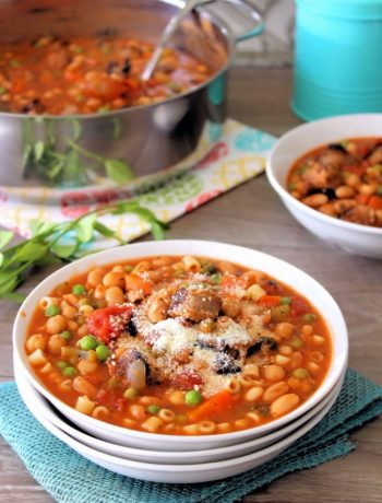 Who doesn't love a hearty bowl of delicious warm soup this time of the year? This recipe is Packed with hot Italian sausage, spicy capicola, cannellini beans, celery, carrots, peas, diced tomatoes, and even tiny pasta, in a warm, flavorful vegetable broth to fill your belly on a chilly day.