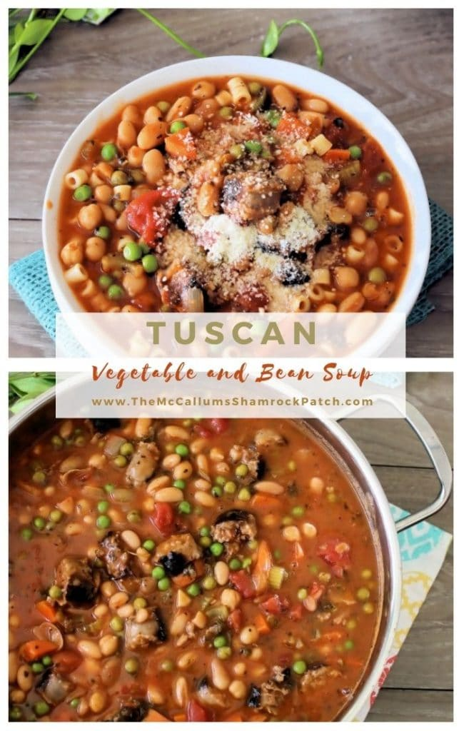 Who doesn't love a hearty bowl of deliciouswarm soup this time of the year? This recipe is packed with Italian sausage,capicola,cannellini beans, celery, carrots, peas, diced tomatoes, and pasta