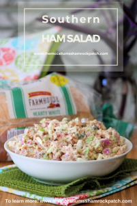 Southern Ham Salad andWhite Bread go together like two peas and a pod. A delicious homemade Southern Ham salad made with sweet honey ham, celery, red onions, hardboiled boiled eggs, and pickles on a thick-sliced, fresh from the oven tasting white bread we all have come to lovein our house.